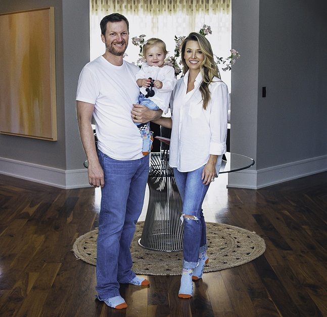 Dale Jr. and Amy in socks for SOITCC